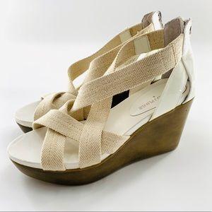 Donald J. Pliner Cream & White Wedge Sandals